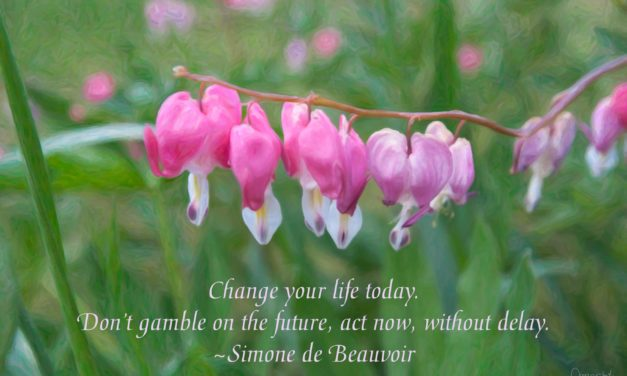 Change your life today. Don't gamble on the future, act now, without delay. ~Simone de Beauvoir