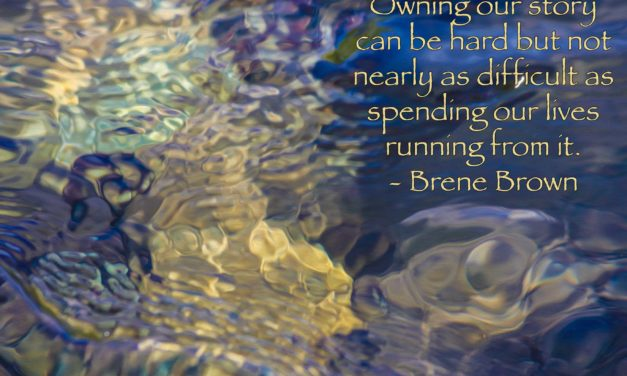 Owning our story can be as hard but not nearly as difficult as spending our lives running from it. ~Brene Brown